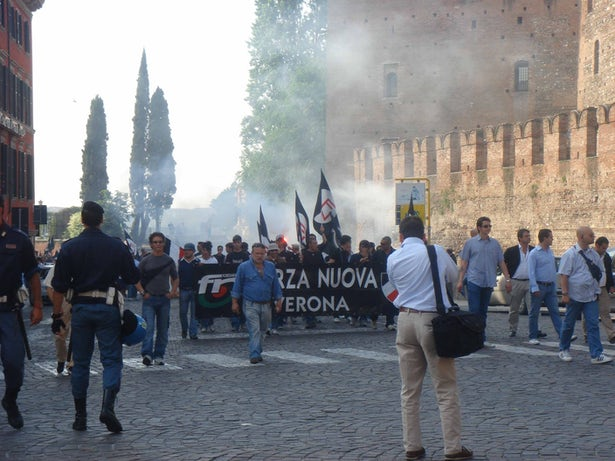 Right-wing parties, like the extremist Forza Nuova, seen here, have waged a fearmongering campaign against changing the law.