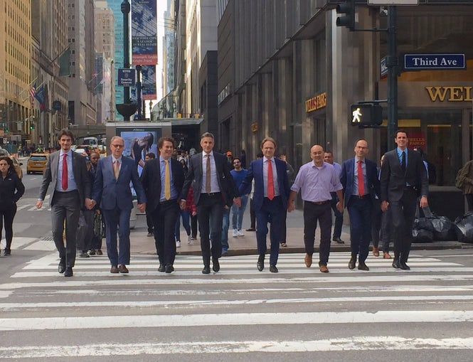 Members of the Permanent Mission of the Kingdom of the Netherlands to the United Nations hold hands in New York City.  (Photo: Lise Gregoire/Twitter)