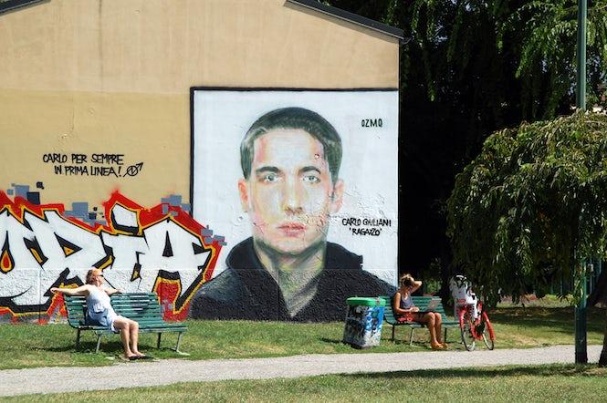 Graffiti of Carlo Giuliani in Piazza Vetra, Milan. (Image: Massimiliano Calamelli)