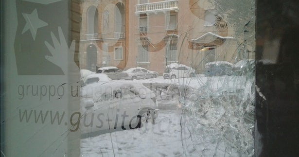 The front window of GUS's office following the attack. (Image: GUS)