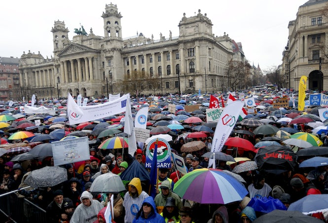 The freedom of people to assemble and protest - and their safety while doing so - are areas of concern in Hungary.  (Image: REUTERS/Laszlo Balogh)