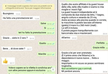A screenshot of the WhatsApp conversation in which the owner of the holiday house said he did not accept gays or animals at his house.