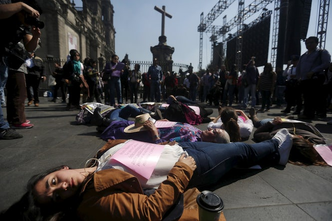 Activists across Europe and the world are joining the campaign to protest violence against women. (REUTERS/Edgard Garrido)