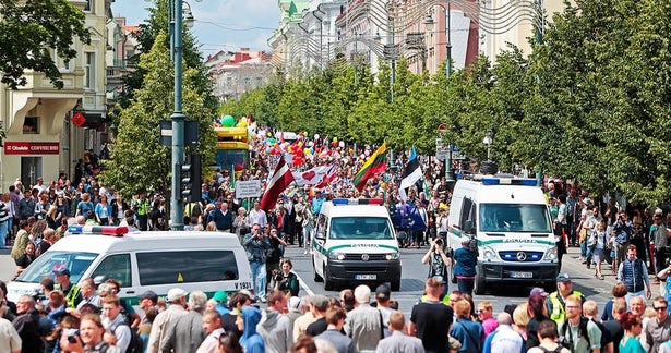 Despite a lack of support from the government, LGBT rights are well supported during the annual Baltic Pride parade, seen here in Vilnius in 2016. (Image: (Image: ww.lgl.lt)