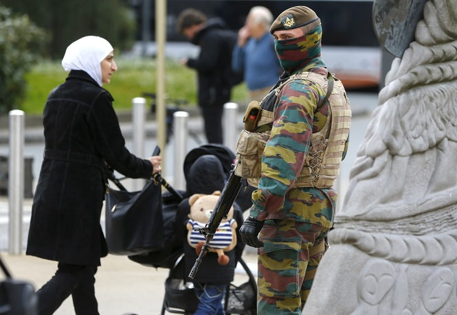 More than a year after being deployed, army troops are still present in the streets of Brussels and other cities.  (Image: REUTERS/Yves Herman)