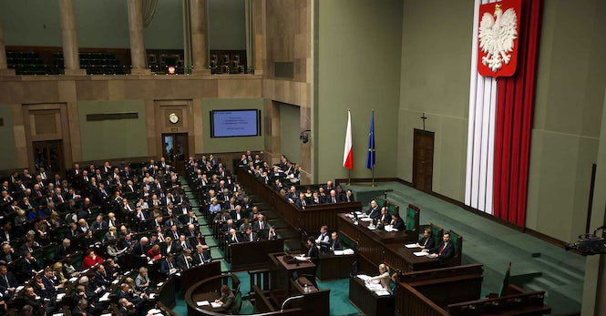 The government changed the rules of the Sejm, the lower house of Parliament, to ease its appointment of five new judges.  (Image: Kancelaria Premiera)