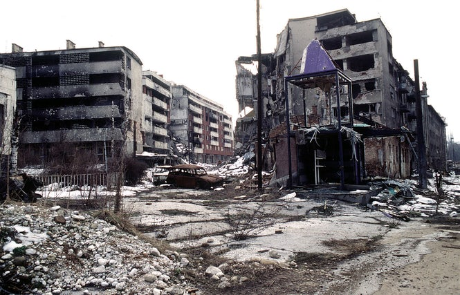 Residential areas, like this one in Sarajevo, were heavily bombed during the Bosnian War.