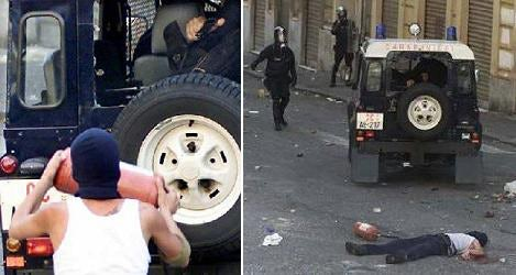 The death of Carlo Giuliani. The policeman's firearm is visible in the top right of the left-hand photograph. The shot was fired at Giuliani in the time between these photos.