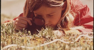 Girl uses a magnifying glass to study plant life in the tundra of the rocky mountains. the denver pta sponsored a...   nara   543740.jpg?ixlib=rails 0.3