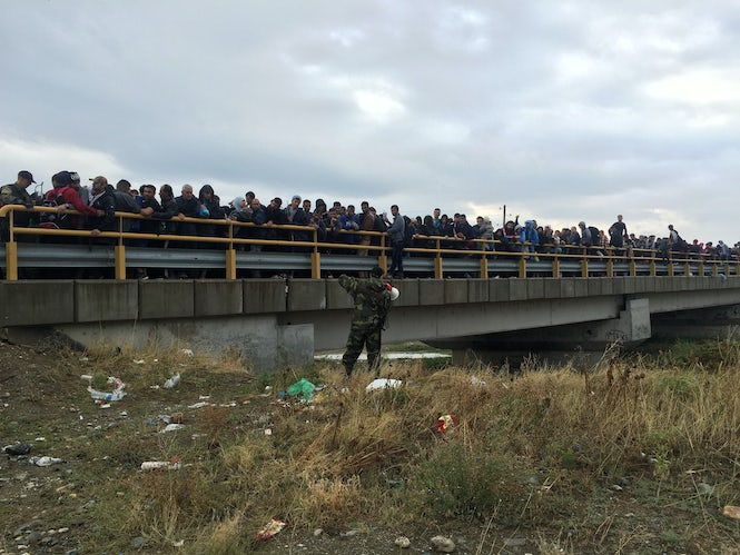Refugees on a road in Macedonia are prevented from traveling onward.   (Image: Seth Frantzman)