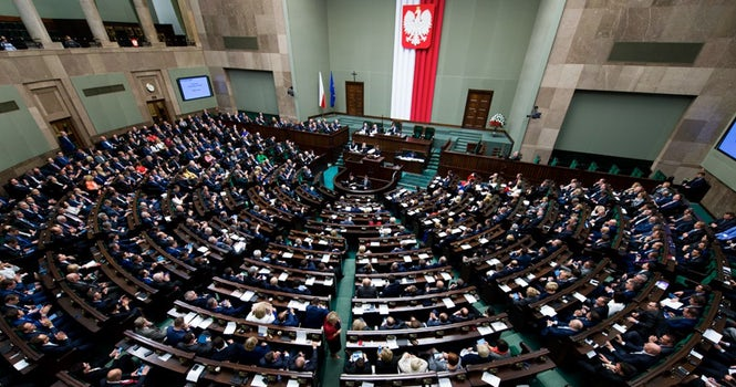 The budget vote was not held in the Sejm (above), but a side room that did not allow voice or video recording.
